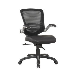 Manhattan Comfort Ergonomic Walden Office Chair in Black PU Leather