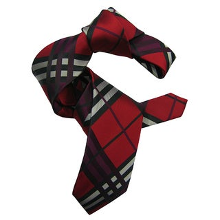 Dmitry Men's Red Plaid Patterned Italian Silk Tie