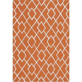 Alliyah Handmade Loop And Cut Rust Wool And Silk Rug (5x8)