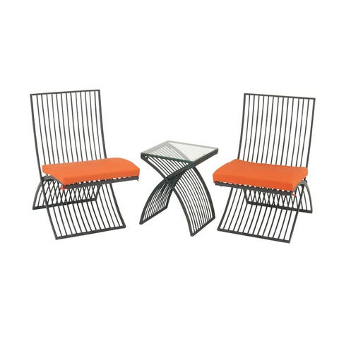 Modern Outdoor 3-piece Metal and Orange Upholstered Patio Set