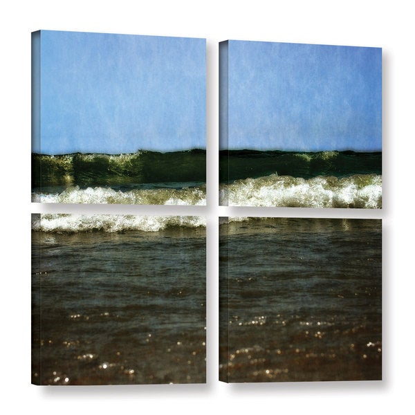ArtWall Kevin Calkins ' Waves Crash 4 Piece ' Gallery-Wrapped Canvas Square Set - Blue/Green/White