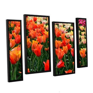 ArtWall Kevin Calkins ' Tulips In Spring 4 Piece Floater Framed Canvas Staggered Set