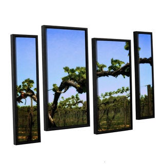 ArtWall Kevin Calkins ' Spring Vineyard 4 Piece Floater Framed Canvas Staggered Set
