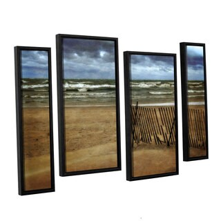 ArtWall Kevin Calkins ' Snow Fence And Waves 4 Piece Floater Framed Canvas Staggered Set