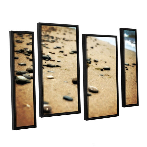 ArtWall Kevin Calkins ' Pebbles And Waves 4 Piece Floater Framed Canvas Staggered Set