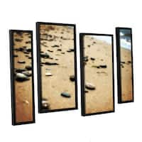 ArtWall Kevin Calkins ' Pebbles And Waves 4 Piece Floater Framed Canvas Staggered Set - Multi