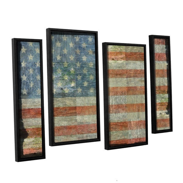 ArtWall Kevin Calkins ' Old Glory 4 Piece Floater Framed Canvas Staggered Set
