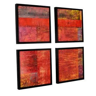 ArtWall Kevin Calkins ' Essence Of Red 4 Piece Floater Framed Canvas Square Set