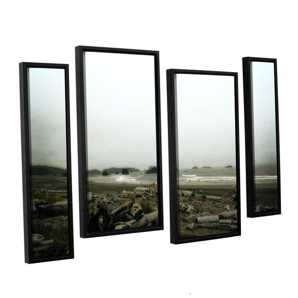 ArtWall Kevin Calkins ' Driftwood And Seastacks 4 Piece Floater Framed Canvas Staggered Set