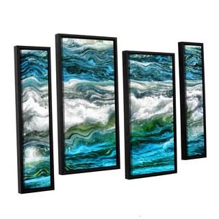 ArtWall Kevin Calkins ' Cresting Waves 3.0 4 Piece Floater Framed Canvas Staggered Set