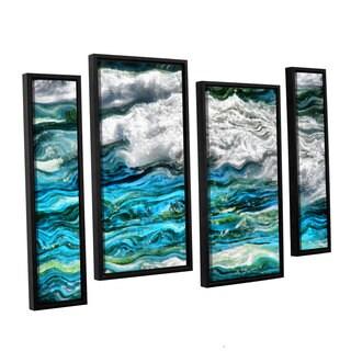ArtWall Kevin Calkins ' Cresting Waves 2.0 4 Piece Floater Framed Canvas Staggered Set