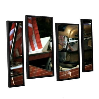 ArtWall Kevin Calkins ' Chris Craft And Old Glory 4 Piece Floater Framed Canvas Staggered Set