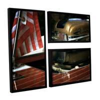 ArtWall Kevin Calkins ' Chris Craft And Old Glory 3 Piece Floater Framed Canvas Flag Set - Multi