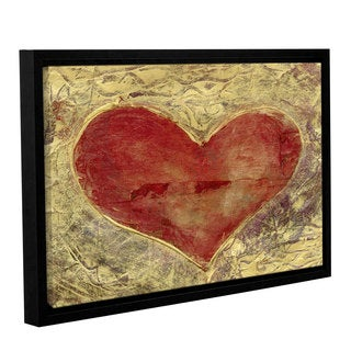 ArtWall Elena Ray Red 'Heart Of Gold ' Gallery-Wrapped Floater-Framed Canvas
