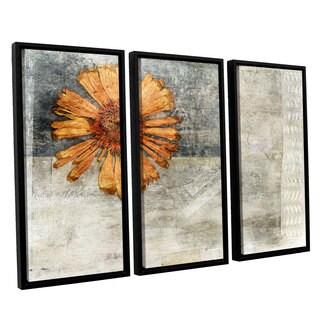 ArtWall Elena Ray ' Vintage Flower 3 Piece Floater Framed Canvas Set