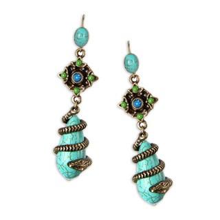 Sweet Romance Snake Coiled Turquoise Teardrop Southwest Earrings