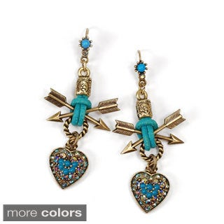 Sweet Romance Rustic Heart and Arrow Leather Southwest Earrings