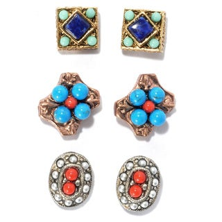 Sweet Romance Set of 3 Southwest Gypsy Stud Earrings