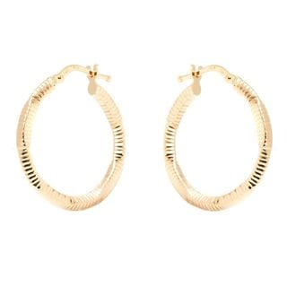 Pori 14k Yellow Gold 2.5 x 24mm Diamond-cut Hoop Earrings
