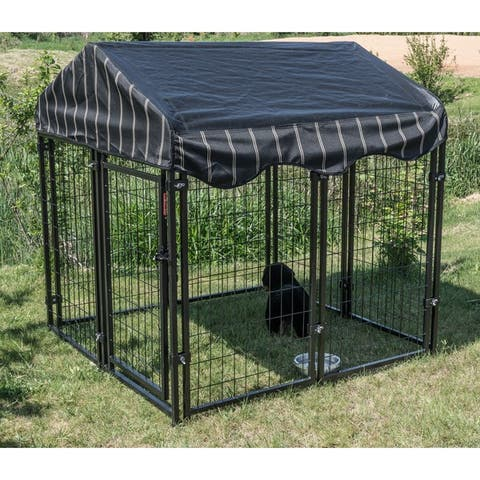 "Lucky Dog 52""H x 4'W x 4'L Pet Resort Kennel w/cover - Black"