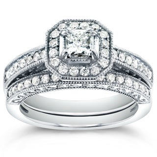 Annello by Kobelli 14k White Gold 3/4ct TDW Princess-cut Halo Diamond Bridal Rings Set