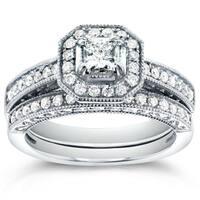 Annello by Kobelli 14k White Gold 3/4ct TDW Princess-cut Halo Diamond Bridal Rings Set