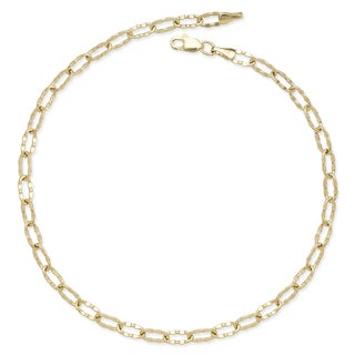 14k Gold 10-inch Flat Hammered Oval Link Chain Anklet