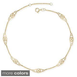 14k Gold 9-10-inch Adjustable Twisted Bar Fancy Station Anklet