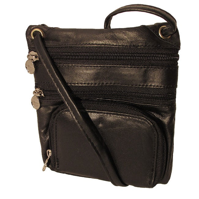 Silvertone Continental Leather Travelers Side Pouch and M...