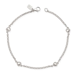 Sterling Silver 9-inch Polished Heart Charm Station Rolo Anklet