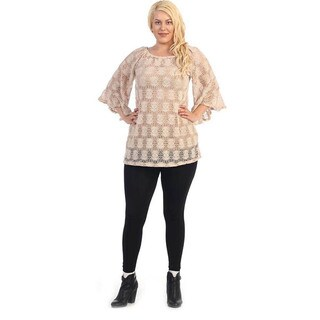 Women's Plus Size Beige Floral Lace Top