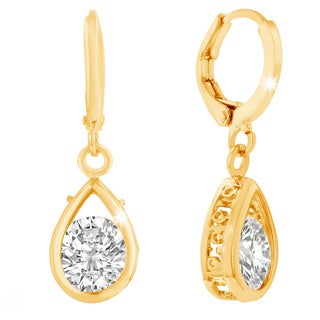 Adoriana Yellow Gold over Brass Pear Shape Drop Earrings