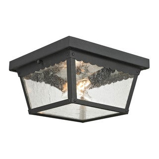 Cornerstone 10-inch Matte Textured Black Springfield 2-light Exterior Flush Mount