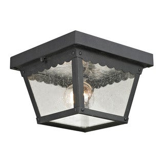 Cornerstone 8.375-inch Matte Textured Black Springfield 2-light Exterior Flush Mount