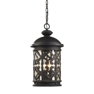 Cornerstone Tuscany Coast 3 Light Exterior Hanging Lamp In Weathered Charcoal