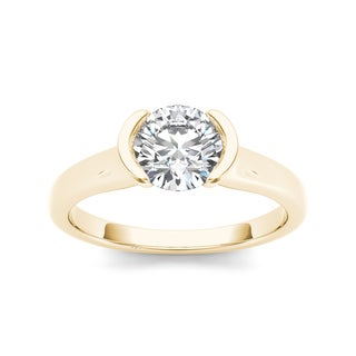 De Couer 14k Yellow Gold 1ct TDW Diamond Half-Bezel Engagement Ring (H-I, I2)