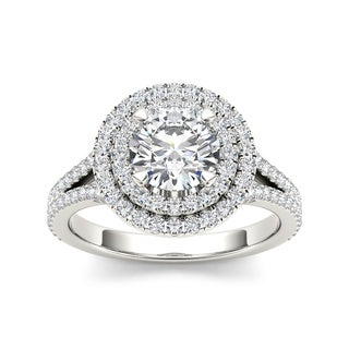 De Couer 14k White Gold 1 1/2ct TDW Diamond Double Halo Engagement Ring - White H-I