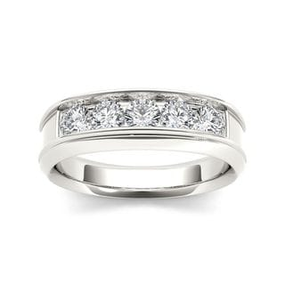 De Couer 14k White Gold 1ct TDW Diamond Men's Wedding Band (H-I, I2)