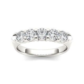 De Couer 14k White Gold 1/2ct TDW Diamond Five-Stone Women's Wedding Band (H-I, I2)