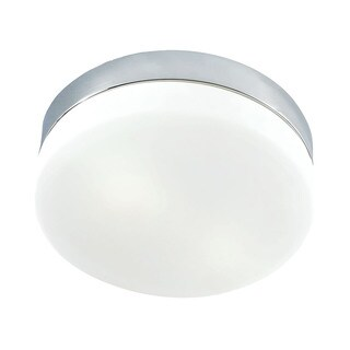 Cornerstone 9-inch 9-inch Chrome/ White Glass 2-light Flush Mount