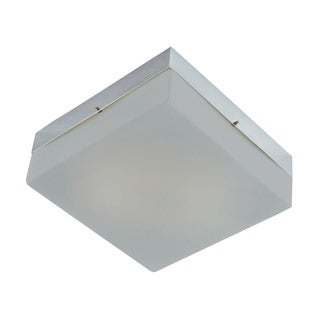 Cornerstone 7.25-inch Chrome/ Metallic Grey Glass 2-light Flush Mount