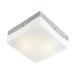 Cornerstone 9-inch Chrome/ White Glass 2-light Flush Mount
