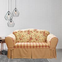 Sure Fit Lexington Tan/Red Cotton 1-piece Floral T-cushion Loveseat Slipcover