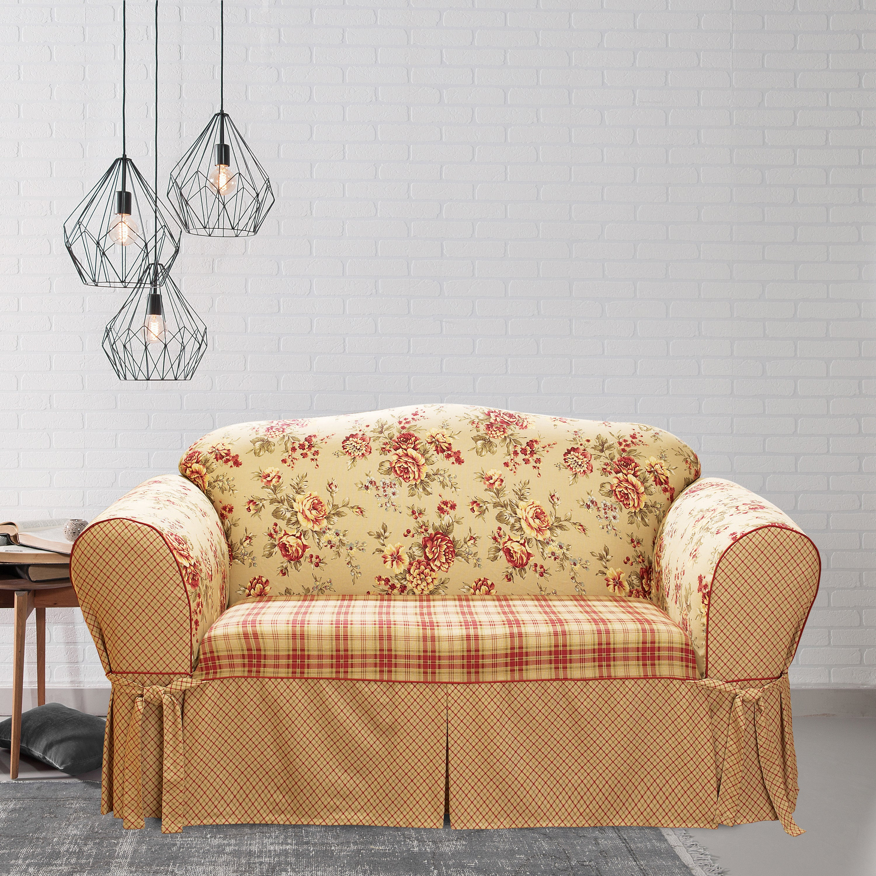 Brilliant Sure Fit Lexington 1 Piece T Cushion Loveseat Slipcover Ncnpc Chair Design For Home Ncnpcorg