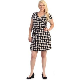 Women's Plus SIze Black/ Brown Houndstooth Flare Dress