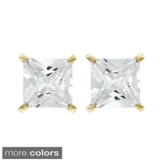 Nexte Jewelry Goldtone Or Silverton Princess-Cut Cubic Zirconia Stud Earrings