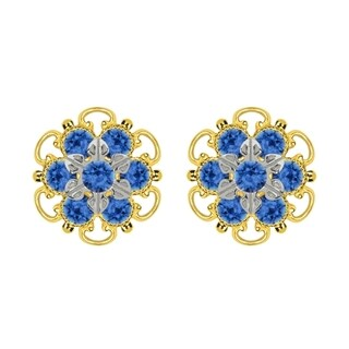 Lucia Costin Gold Plated over Sterling Silver Blue Crystal Studf Earrings