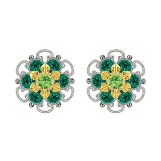 Lucia Costin Gold Over Sterling Silver Light and Dark Green Crystal Stud Earrings