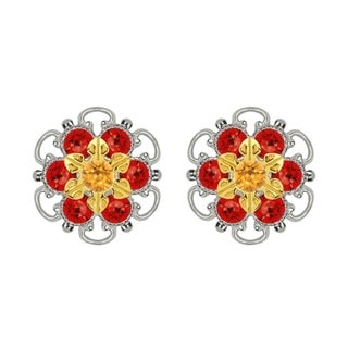 Lucia Costin Gold Over Sterling Silver Yellow Red Crystal Stud Earrings