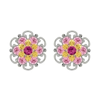 Lucia Costin Gold Over Sterling Silver Light Pink Crystal Stud Earrings